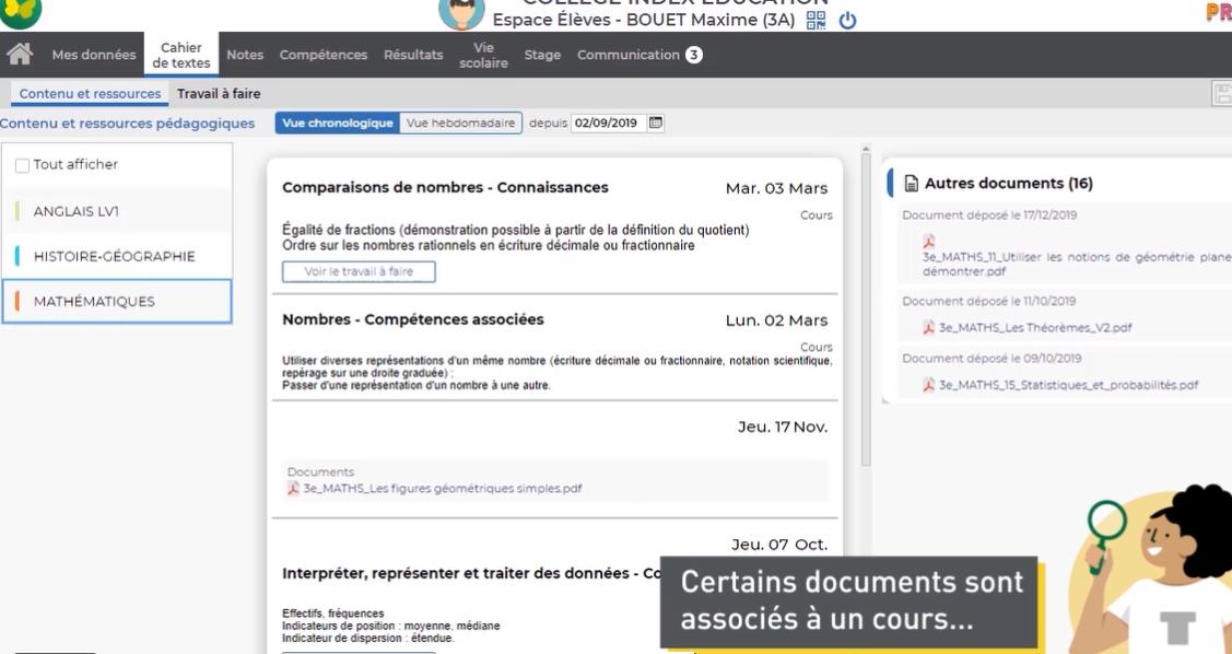 Récupérer des documents via Pronote